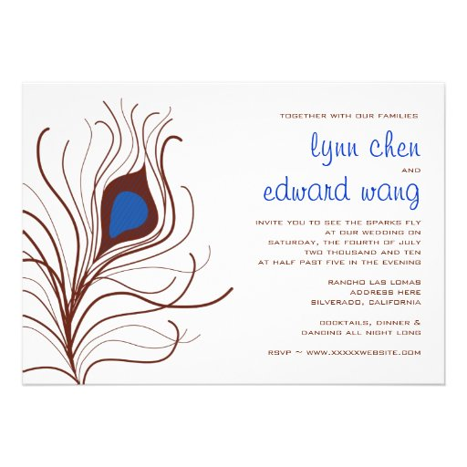 Peacock Feather Wedding Invitation - cobalt blue
