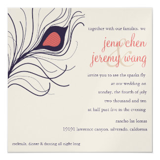 Peacock Feather Wedding Invitation Navy Blue Coral