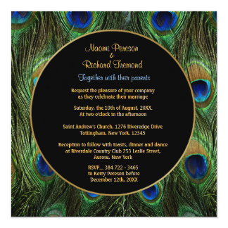 Peacock Feather Wedding Invitation Square