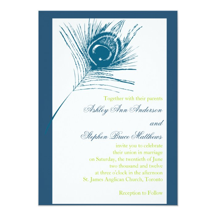 Together With Their Parents Wedding Invitation: Peacock Feather Wedding Invitations Blue Green