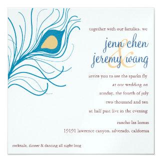"""Peacock Feather Wedding invite 5.25"""" Square Invitation Card"""