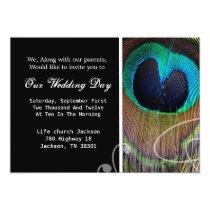 "Peacock Feather Wedding Invites 5"" X 7"" Invitation Card"