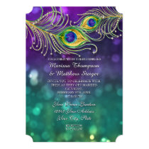 Peacock Feather Wedding Jeweled Feathers Bokeh Card