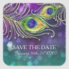 Peacock Feather Wedding Jeweled Feathers Bokeh Square Sticker