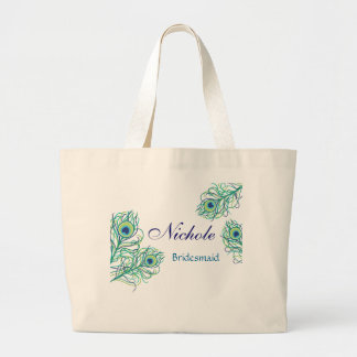 Peacock Feather Wedding Party Tote Jumbo Tote Bag