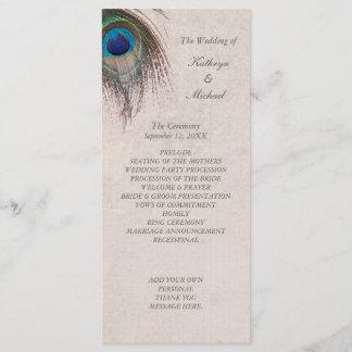 Peacock Feather Wedding Program