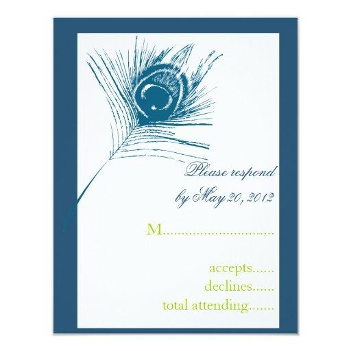 Peacock Feather Wedding RSVP Card Turquoise Custom Invites