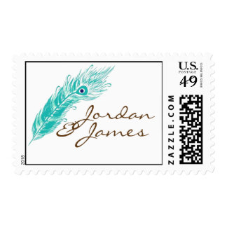 Peacock Feather Wedding Stamps