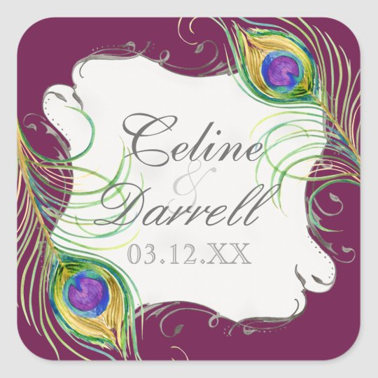 Peacock Feather Wedding Sticker or Seal