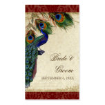Peacock & Feather Wedding Table Seating Escort Business Card Templates