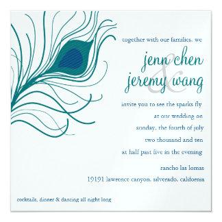 Peacock Feather Wedding, teal blue Card