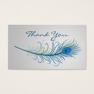 Peacock feather Wedding Thank You Business card