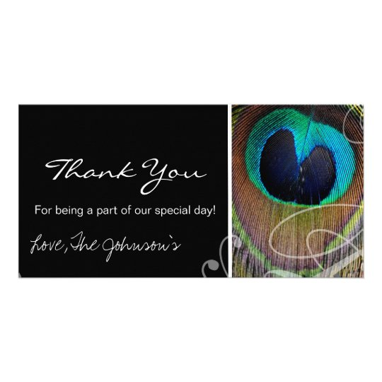 Peacock Feather Wedding Thank You Photo Cards
