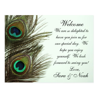 Peacock Feather Wedding Welcome Bag Note Postcard