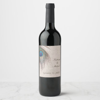 Peacock Feather Wedding Wine Label