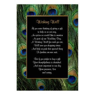 Peacock Feather Wedding - Wishing Well Large Business Card