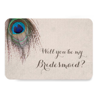 Peacock Feather Will You Be My Bridesmaid Invitation