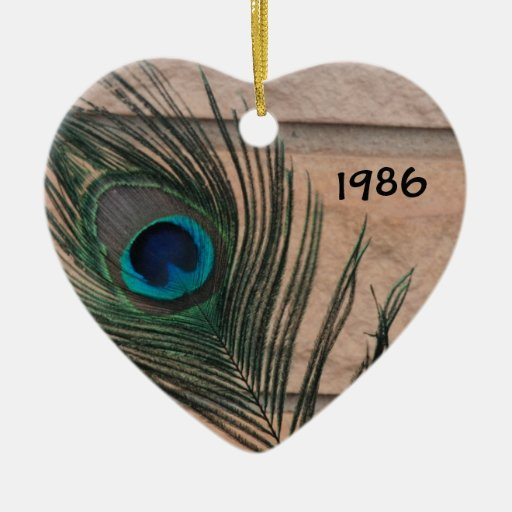 Peacock Feather with Brick Ornament