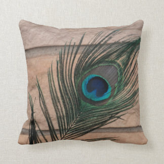 Peacock Feather with Bricks Still Life Throw Pillow