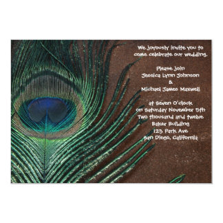 """Peacock Feather with Brown and Gold 5"""" X 7"""" Invitation Card"""