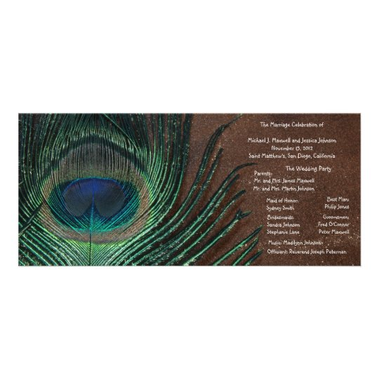 Peacock Feather with Brown and Gold Rack Card