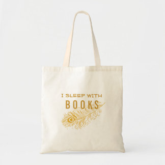 Peacock Feather With Heart I Sleep w/ Books Tote Bag