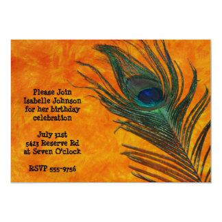 Peacock Feather with Orange Birthday Invitation