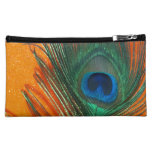 Peacock feather with Orange Glitter Still Life Makeup Bag