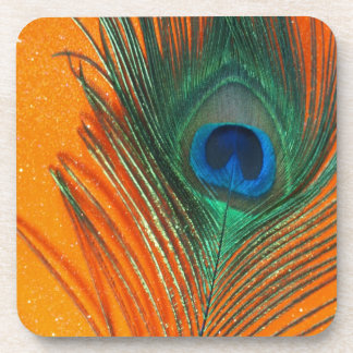 Peacock feather with Orange Glitter Still Life Beverage Coaster