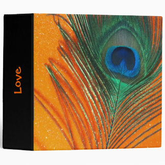 Peacock feather with Orange Glitter Still Life Binders