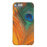 Peacock feather with Orange Glitter Still Life iPhone 6 Case