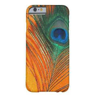 Peacock feather with Orange Glitter Still Life Barely There iPhone 6 Case