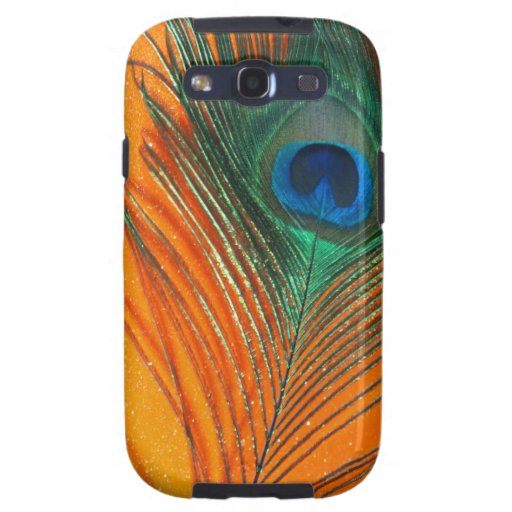 Peacock feather with Orange Glitter Still Life Galaxy S3 Cases