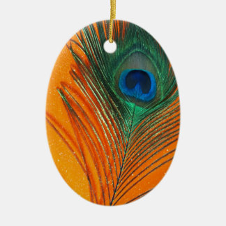Peacock feather with Orange Glitter Still Life Ceramic Ornament