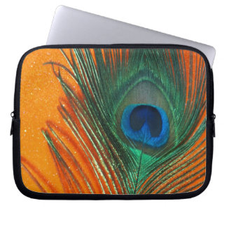 Peacock feather with Orange Glitter Still Life Laptop Sleeve