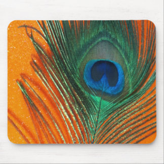 Peacock feather with Orange Glitter Still Life Mouse Pad