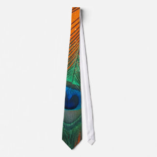 Peacock feather with Orange Glitter Still Life Tie
