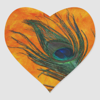 Peacock Feather with Orange Heart Sticker