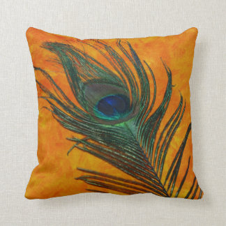 Peacock Feather with Orange Throw Pillows