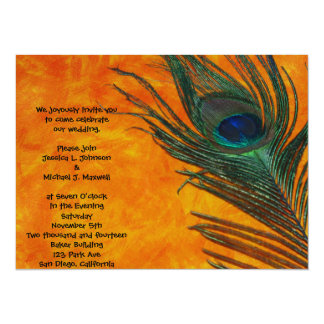 Peacock Feather with Orange Wedding Custom Announcements