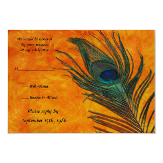 Peacock Feather with Orange Wedding RSVP Cards