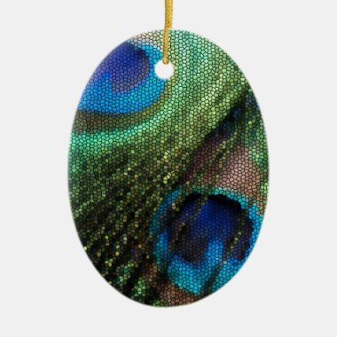 Peacock Feather with Stained Glass Effect Ceramic Ornament