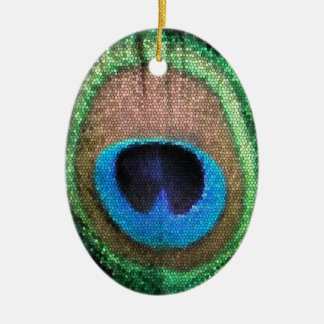 Peacock Feather with Stained Glass Effect Christmas Tree Ornaments