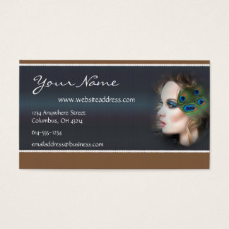 Peacock Feather Woman D2 Business Cards