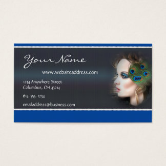 Peacock Feather Woman D3 Business Cards
