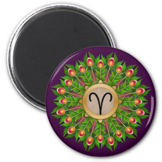 Peacock Feather Wreath Zodiac Sign Aries Magnet