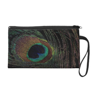 Peacock feather wristlet clutches