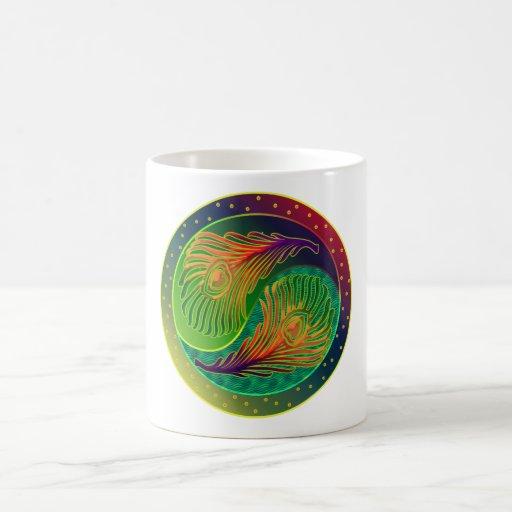 Peacock Feather Yin Yang 3 Coffee Mug