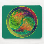 Peacock Feather Yin Yang 3 Mouse Pad