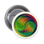 Peacock Feather Yin Yang 3 Pinback Button